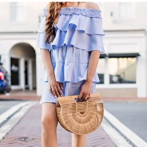 Asos Blue and white stripe off the shoulder dress